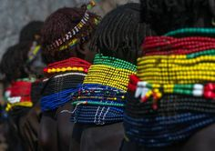 Eric Lafforgue, The incredible necklaces of the Nyangatom tribe women in Kangate, in south Ethiopia. They never remove them, day and night. Taken with Sony A7r2 www.ericlafforgue.com on ArtStack #eric-lafforgue #art