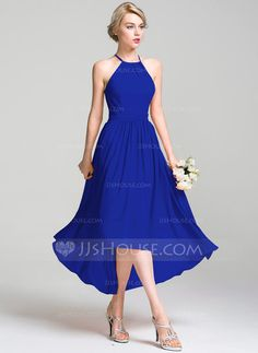 A-Line/Princess Scoop Neck Asymmetrical Ruffle Zipper Up Crossed Straps Spaghetti Straps Sleeveless No Other Colors Spring Summer Fall General Plus Chiffon Bridesmaid Dress