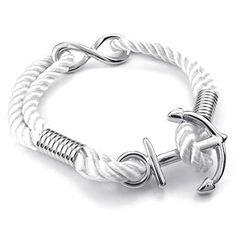 Men Women Rope Bracelet, Love Infinity Anchor Charm, White Silver - InnovatoDesign