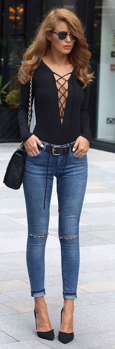 Black Lace Up Bodysuit Skinny Jeans Black Pumps
