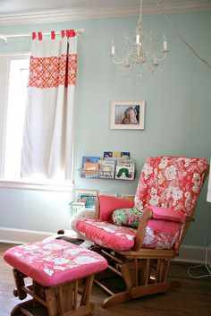 Sweet P's Nursery - Reading Area by lesley zellers, via Flickr Nursery Curtains, Nursery Room, Girl Nursery, Girl Room, Baby Bedroom, Bed Room, Nursery Decor, Nursery Reading, Reading Nook