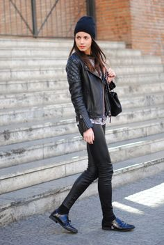 all black everything...beanie + leather moto jacket + skinnies