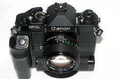Canon F1 (New Model) 1981.  After 10 years the original manual F1 was replaced but not renamed.  This was a brand new camera without any compatible accessories except lenses.  This would be the last professional camera from Canon until the EOS series.
