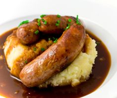 Bangers 'n' mash. The fryers were down at the Hereford Arms on Gloucester Road, so we had this. Sooo good!