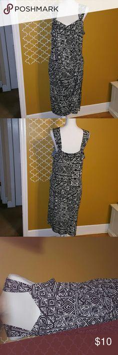Ms. Tina Aztec Print Dress Black and White print Sleveless Dress Ms. Tina Dresses Midi