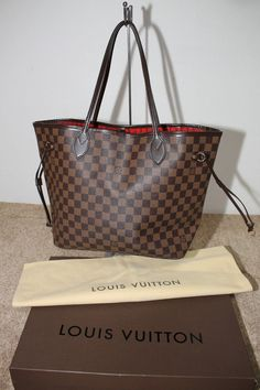 Authentic LOUIS VUITTON Damier Neverfull MM Tote Handbag #LouisVuitton #TotesShoppers