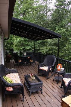 Love the dark stain on deck flooring and black railing and furnishings. Tripp Halstead - Sunshine on a Ranney Day Architectural Landscape Design Deck Stain Colors, Deck Colors, Patio Roof, Backyard Patio, Pergola Roof, Gazebo, Dark Deck, Deck Flooring, Deck Pictures