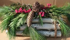 Small Triangle Birch Logs Decorated by EvergreensByDesign on Etsy, $36.00