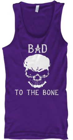 Bad To The Bone Skull Tank Top Purple T-Shirt Front