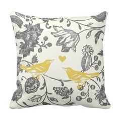 Trendy Yellow Gray Vintage Floral Bird Pattern Throw Pillow