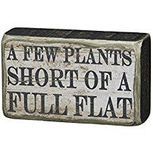 A Few Plants Short of A Full Flat Whimsical Box Sign Gardening Flowers Signs Garden Crafts, Garden Projects, Garden Art, Dream Garden, Tire Garden, Garden Club, Garden Paths, Wood Projects, Craft Projects
