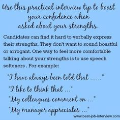 """of Strengths and Weaknesses Practical Tips and Help for Answering the Interview Question """"What are Your Strengths?""""Practical Tips and Help for Answering the Interview Question """"What are Your Strengths? Interview Answers, Interview Skills, Job Interview Tips, Job Interview Questions, Interview Tips Weaknesses, Job Interviews, Strength And Weakness Interview, Behavioral Interview, Job Resume"""