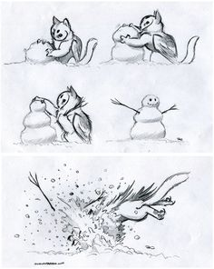 Owl Griffin Snow Play by RobtheDoodler on DeviantArt -All his stuff is too adorable~ (Also another Mass Effect Fan! Creature Drawings, Animal Drawings, Art Drawings, Mythological Creatures, Mythical Creatures, Illustrations, Illustration Art, Kawaii, Dragons