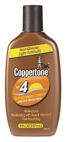 Coppertone Sunscreen Lotion, SPF 4, 8-Ounce Bottles (Pack of 3) by Coppertone. $34.63. New! Light, Non-Greasy Formula UVA/UVB Protection  Waterproof Moisturizing with Aloe &Vitamin E Fast Absorbing Now you can get Coppertone SPF sunscreen protection in a lightweight, non-greasy formula. Coppertone SPF 4 Sunscreen is a fast-absorbing lotion that leaves no greasy residue while protecting your skin from the sun's damaging UVA/UVB rays. This moisturizing formula with Al...