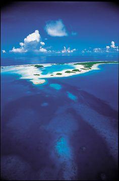 Aerial View on the Blue Lagoon of Rangiroa, Tuamotu Archipelago, French Polynesia. Credit: P. Bacchet