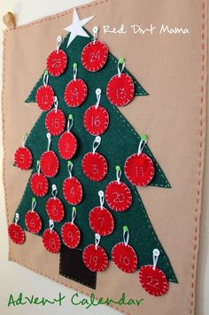 Cute advent calendar... little pockets are in the ornaments that hold a thing to do... you basically make up your own things to do... like cookies in one, look at lights in another.