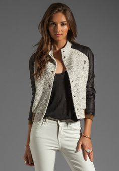 ROSEANNA Paris Jacket with Leather Sleeves in Ecru