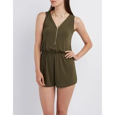 Charlotte Russe Zip-Up Sleeveless Romper ($19) ❤ liked on Polyvore featuring jumpsuits, rompers, olive, playsuit romper, sleeveless romper, charlotte russe romper, sleeveless rompers and charlotte russe