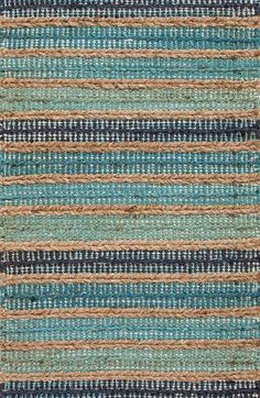 Sea Glass Stripe Jute Rug for guest bath Coastal Style, Coastal Decor, Area Rugs For Sale, Jute Rug, Home Decor Store, Accent Rugs, Glass Design, Rugs In Living Room, Rugs On Carpet