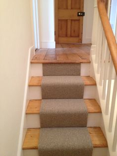 Stair Runner With Wooden Treads.