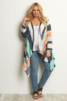 A colorful plus size maternity cardigan to layer over all your favorite pieces this season. A soft knit material for ultimate comfort, and an open front makes taking on and off with changing weather easy. Style this cardigan with a basic maternity cami and jeans for a casual ensemble.