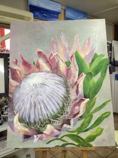 King protea by Danietta van Noordwyk Lily Painting, Painting Flowers, Protea Art, Floral Drawing, Encaustic Art, Popular Art, Tropical Art, Australian Art, Paintings I Love