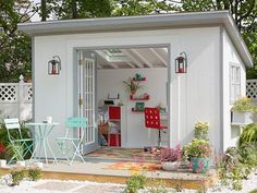 """Regular backyard sheds, often right off the lot, are being transformed into women-only """"she sheds"""" with wine fridges and chandeliers. #LuxuryFridges"""