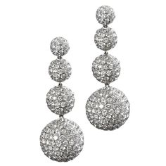 4 sphere drop earrings with 13 cts. of diamonds. | From a unique collection of vintage drop earrings at https://www.1stdibs.com/jewelry/earrings/drop-earrings/
