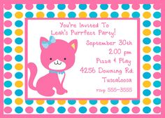 Child's Birthday Party Invitation  Kitten by celebrationspaperie, $11.00