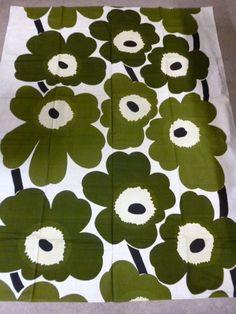 Maritextil Finland Maija Isola Unikko Orig Vintage 1950 Fabric Green Marimekko | eBay