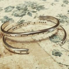 """""""One Day at a Time"""" sterling cuff"""