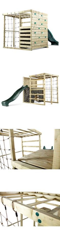 This beautifully crafted Climbing Cube Wooden Play Centre from Plum Products is crammed full of plenty of exciting and fun activities. The Climbing Cube features a Rock Wall with bright and easy-to-use hand and foot grips, a cargo net, and a play den underneath with a roll down camouflage fabric, trapeze and monkey bars, finished off with a green wave slide.