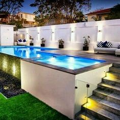 Oberirdischer Pool - Garten Design The above-ground pool is the best option when it comes to cost, m Above Ground Pool Landscaping, Small Backyard Pools, Backyard Pool Landscaping, Backyard Pool Designs, Small Pools, Swimming Pools Backyard, Swimming Pool Designs, Backyard Fences, Landscaping Ideas