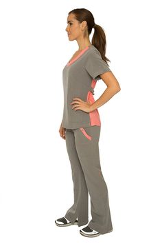 Pink Salmon and Gray Nursing Uniform Medical Scrubs by EmmiWest