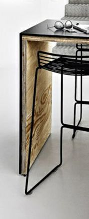 Banqueta de hierro y madera en u banqueta de estructura for O kitchen mira mesa