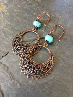 Copper and Turquoise Dangle Earrings by esdesigns65 on Etsy