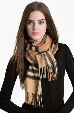 Burberry Heritage Giant Check Fringed Cashmere Muffler available at #Nordstrom
