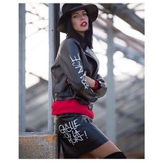#mulpix LE CHIC! @alicebasso per @gaelle_paris #CODE272 #fashion #outfit #ootd #leather #mini #skirt #jacket #hat #cool #beautiful #model #girl #blogger #paris #style #shopping #store #rome