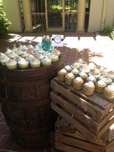 dessert setup wood box and barrel