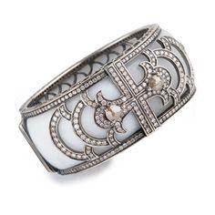 Bochic White jade and diamond cuff #diamondjewelry