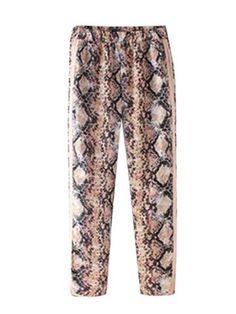 Women Elastic Waist Snake Print Casual Pant