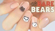 We Bare Bears Nail Art Tutorial Nails Fox Nails, Edgy Nails, Funky Nails, Trendy Nails, Cute Nails, Panda Nail Art, Animal Nail Art, Minimalist Nails, Pretty Nail Art