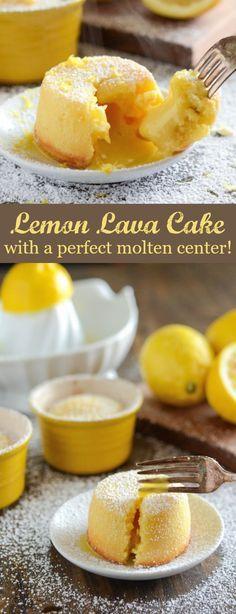 Lemon Lava Cake - It's sweet, zesty and full of bright flavors! (Dessert Recipes For Summer) Lemon Recipes, Baking Recipes, Sweet Recipes, Köstliche Desserts, Delicious Desserts, Easy Lemon Desserts, Lemon Dessert Recipes, Food Cakes, Cupcake Cakes