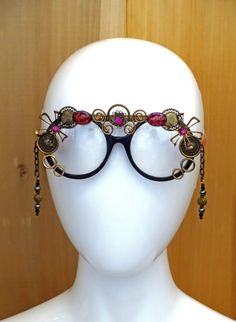 700f1c21d85 Hot Pink and Black Embellished Decorated Sunglasses