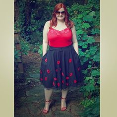 "⬇️ Red Lip Tulle Skirt Beautiful navy blue skirt with red lip embroidery pattern. 38"" waist. eShakti Skirts A-Line or Full"