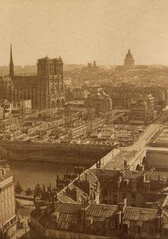 Construction de l'Hôtel-Dieu de Paris vers 1870