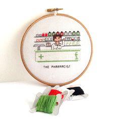 0 point de croix pharmacienne - cross stitch pharmacist