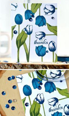 Tulips layout with Altenew Tulip stamp set. Details: http://craftwalks.com/2016/08/02/altenew-stamp-focus-tulip/