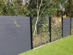 Fencing w/ Black Post Poles Modern Landscaping, Outdoor Landscaping, Outdoor Plants, Outdoor Gardens, Porch Garden, Garden Fencing, Patio, Fence Design, Garden Design