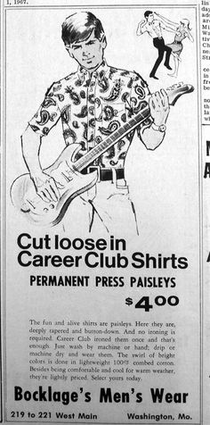 1967 Paisley shirts ad for Bocklage's Mens Wear in The Missourian